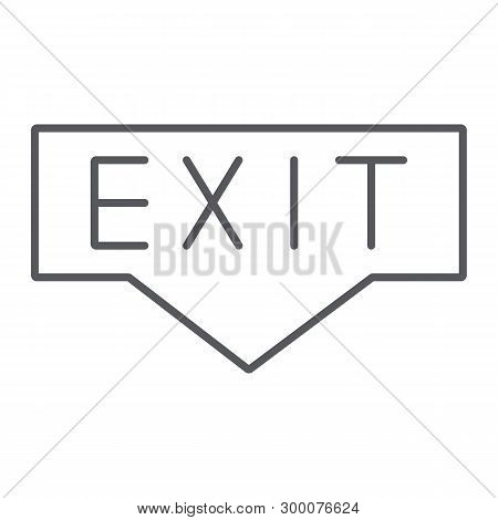Exit Thin Line Icon, Emergency And Doorway, Evacuation Sign, Vector Graphics, A Linear Pattern On A