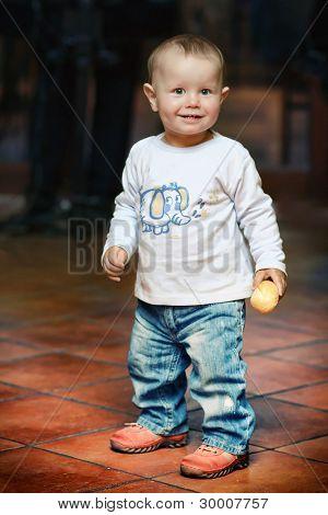Closeup portrait of small boy
