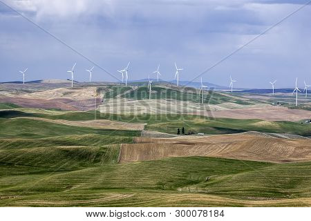 Wind Turbines Dot The Landscape On The Palouse Of Eastern Washington.