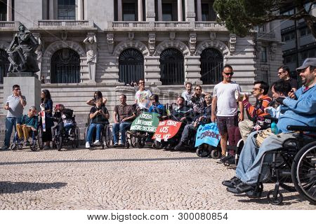 PORTO, PORTUGAL - MAY 5, 2019: Manifesto for Independent Life (the march of disabled people) Demanding compliance with rights in terms of personal assistance, housing, employment, education, transport