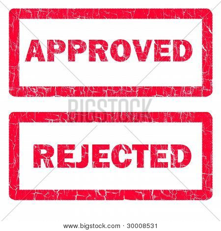 Approved And Rejected Rubber Stamps Isolated