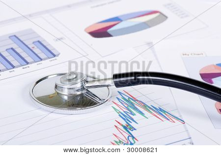 Stethoscope on stock chart - market analysis