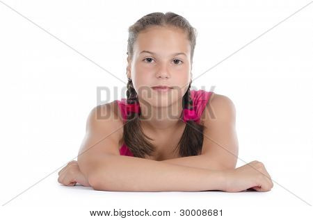 The young girl with the extended hand