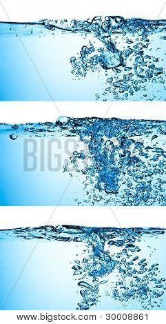 set of splashing blue water