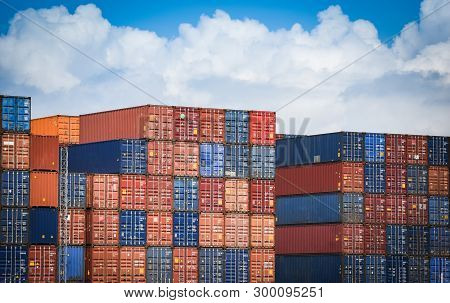 Container Ship In Export And Import Business And Logistics In Harbor Industrial Packing  And Water T