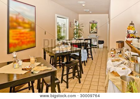 Interior of caribbean mexican restaurant.