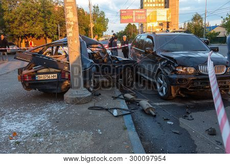 Odessa, Ukraine - May 7, 2019: Car Accident From Accident On Road In The City. Car Crashed Car From