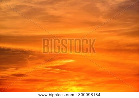 Sunset; Golden Sky With High Bright Clouds