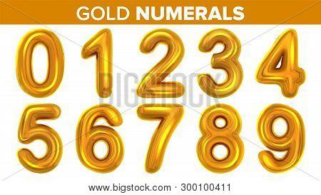 Gold Numerals Set . Golden Yellow Metal Letter. Number 0 1 2 3 4 5 6 7 8 9. Alphabet Font. Typograph