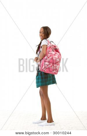 Friendly ethnic black woman high school student with backpack