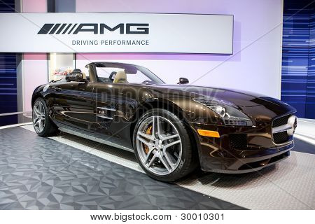 CHICAGO - FEB 12: The 2013 Mercedes SLS AMG on display at the 2012 Chicago Auto Show. February 12, 2012 in Chicago, Illinois.