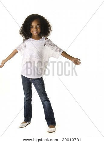 Full body pic of adorable little girl with curly hair
