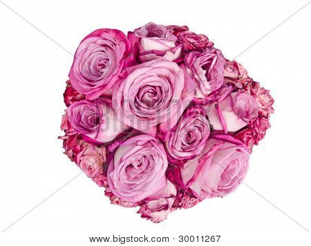 Pink roses bouquet - view from above