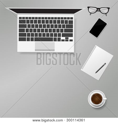 Flat Lay Home Office Concept  Mobile Phone, Laptop, Notebook And Coffee , Vector Illustration