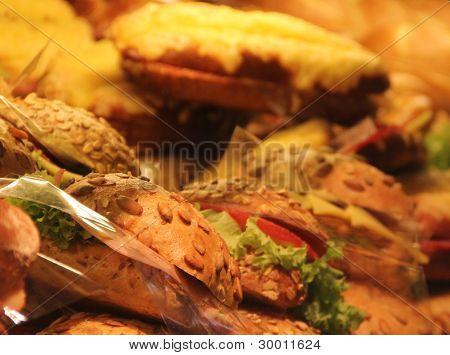 Appetizing Sandwiches On Showcase