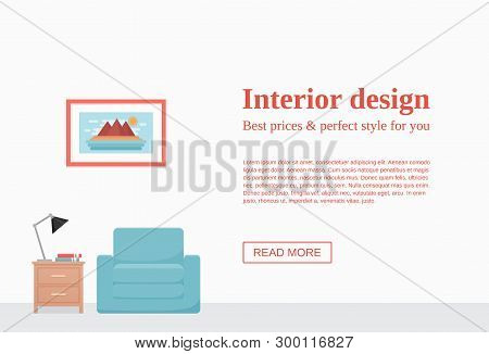 Room interior. Vector. Living room with blue armchair, dresser, lamp on empty white wall with space for text. Template banner. Flat furniture. Modern background. Cartoon illustration. Home design. poster
