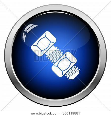 Icon Of Bolt And Nut. Glossy Button Design. Vector Illustration.