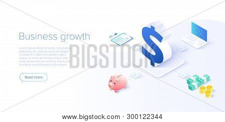 Business Growth Isometric Vector Illustration. Data Analytics For Company Marketing Solutions Or Fin