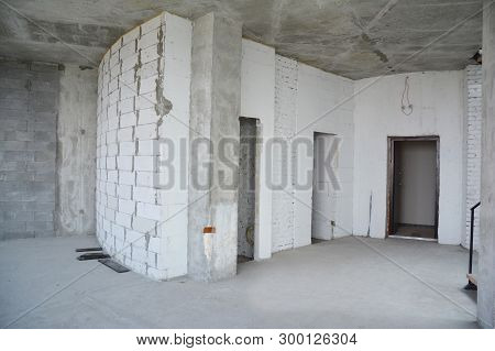 Interior Hall Room Under Construction, Metal Door Lintels. Wall Without Plasterwork And Ready To Rem