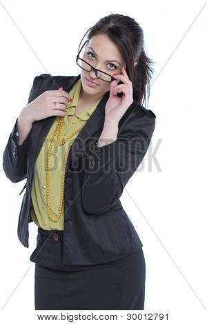 young business woman standing against white background