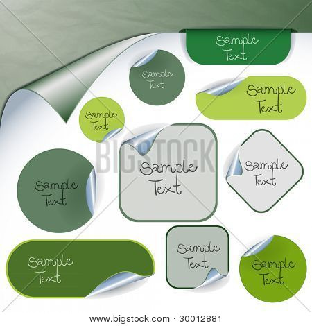 Set of green labels, stamps, stickers, corners