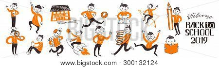 Back To School Teenager Boys Character Set. Learn, Writing, Riding Book, Fly On Rocket, Run, Study A