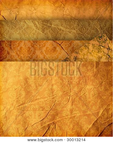 Seamless wallpaper set for vector retro background.  Set of 4 old paper textures and 5 seamless ornaments.