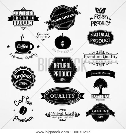 vector set: calligraphic design elements and page decoration, Premium Quality and Natural Product Label collection with black grungy design