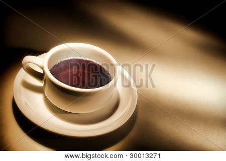Cup Of Light Black Coffee On Coffee Shop Counter
