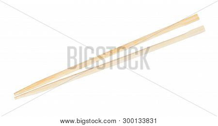 Cheap Disposable Wooden Chopsticks Put Together Isolated On White Background