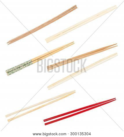 Collection From Various Wooden Chopsticks Isolated On White Background