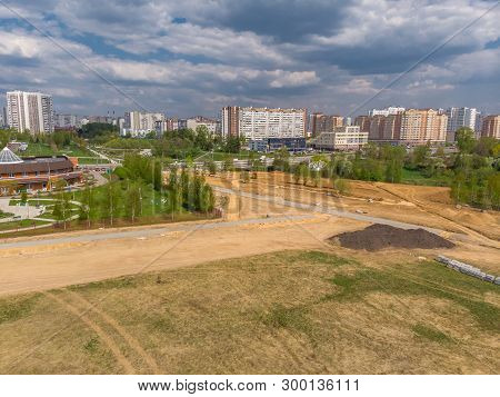 Cleared Land For Construction Site On The Outskirts Of Zelenograd In Moscow, Russia