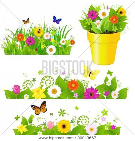 Green Grass With Flowers Set, Isolated On White Background, Vector Illustration