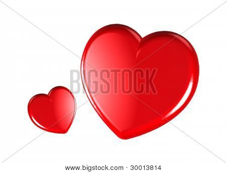 3D red hearts as sign of love