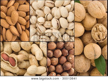 set of nuts fruit collage background