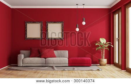 Red Living Room With Modern Sofa And Old Frame On Wall - 3d Rendering