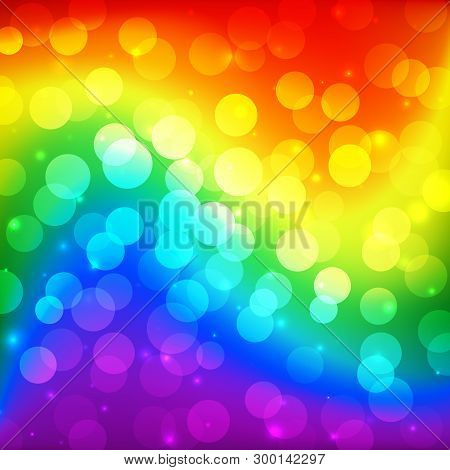 Lgbt Color Blur Bokeh Festive Background, Rainbow Colorful Abstract Graphic For Bright Design. Gay L