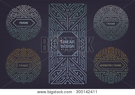 Set Of Art Deco Borders And Frames. Vector Abstract Monogram Geometric Frame, Vintage Linear Silver
