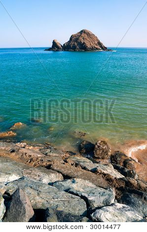 Beautiful seascape with coral reef island