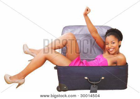 Happy Girl In Suitcase