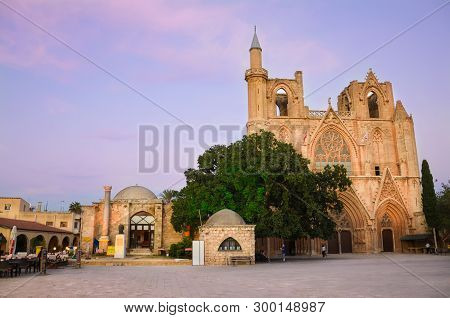 Famagusta, Northern Cyprus - Oct 3rd 2018: Lala Mustafa Pasha Mosque In Cypriot Famagusta, Taken On