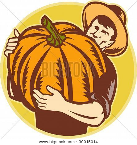 Organic Farmer With Giant Pumpkin