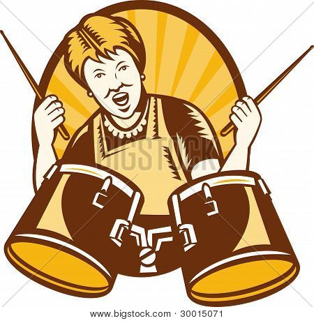 Granny Playing The Drums Retro Woodcut