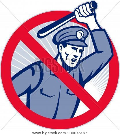 Illustration of a police officer wielding a truncheon nightstick baton set inside sign that means stop police brutality. poster