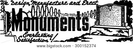 Monuments 2 - Retro Ad Art Banner For Burials