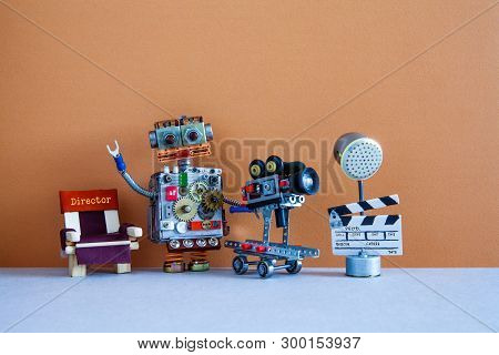 Robotic Filmmaking Backstage Concept. Robot Director Shoots Motion Picture Television Episode Or Mov