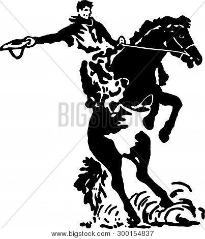 Rodeo Rider 3 - Retro Ad Art Illustration
