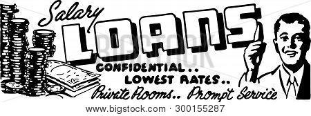 Salary Loans - Retro Ad Art Banner