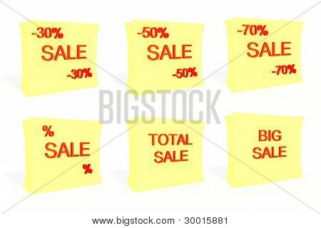 3D Shopping Bags With Sale Sign On White Background