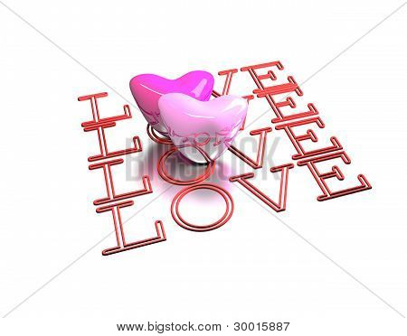 3D Valentine Card Isolated On White